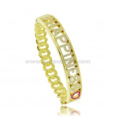 CUSTOMIZABLE RIGID CURB BRACELET WITH ZIRCONATE LETTERS IN SILVER GOLDEN TIT 925 AND ZIRCONIA