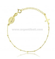 CABLE ROSARY BRACELET WITH SPHERES MM 2 SILVER GOLDEN TIT 925 ‰ CM 18 EXTENDABLE TO 21