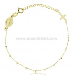 CABLE ROSARY BRACELET WITH FACETED BALLS 2 MM SILVER GOLDEN TIT 925 ‰ CM 18 EXTENDABLE TO 21