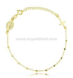 CABLE ROSARY BRACELET WITH FACETED BALLS 2.5 MM SILVER GOLDEN TIT 925 ‰ CM 17-20