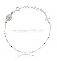 CABLE ROSARY BRACELET WITH BALLS MM 2 SILVER RHODIUM TIT 925 ‰ CM 18 EXTENDABLE TO 21