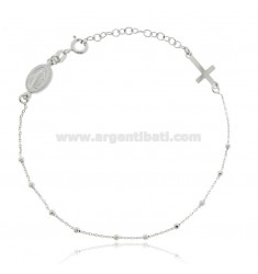 CABLE ROSARY BRACELET WITH FACETED BALLS MM 2 RHODIUM-PLATED SILVER TIT 925 ‰ CM 18 EXTENDABLE TO 21