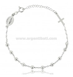 CABLE ROSARY BRACELET WITH FACETED BALLS 4 MM RHODIUM-PLATED SILVER TIT 925 ‰ CM 19-23