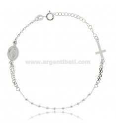 CABLE ROSARY BRACELET WITH BALLS MM 2 DG SILVER RHODIUM TIT 925 ‰ CM 19 EXTENDABLE TO 22