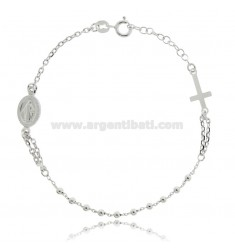 CABLE ROSARY BRACELET WITH BALLS 2.5 MM SILVER RHODIUM TIT 925 ‰ CM 19-22