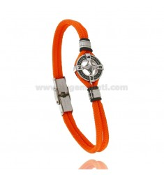 BRACELET IN ORANGE ROPE WITH ROSE OF THE WINDS IN STEEL AND ENAMEL