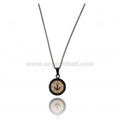 PENDANT STILL WITH RHINESTONES IN ROSE STEEL AND Ruthenium WITH CABLE CHAIN CM 50