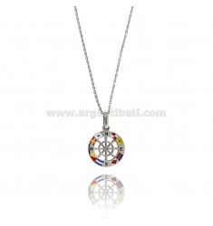 RUDDER PENDANT IN STEEL AND ENAMEL WITH CABLE CHAIN CM 50