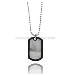 MILITARY MEDAL IN STEEL 38X24 MM WITH RUBBER EDGE AND BALL CHAIN MM 2 CM 60