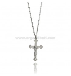 CROSS WITH CHRIST PENDANT IN STEEL WITH CABLE CHAIN CM 50