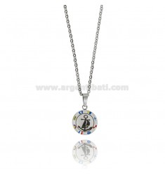 STILL PENDANT IN TWO-TONE STEEL AND ENAMEL WITH CABLE CHAIN CM 50