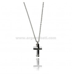 CROSS PENDANT IN TWO-TONE STEEL WITH CABLE CHAIN CM 50