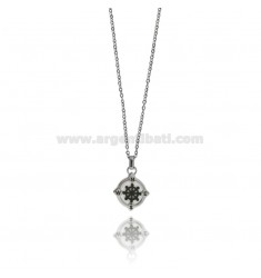 RUDDER PENDANT IN TWO-TONE STEEL AND ENAMEL WITH CABLE CHAIN CM 50