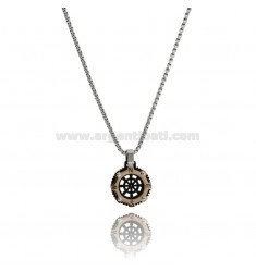 RUDDER PENDANT IN TRICOLOR STEEL WITH VENETIAN CHAIN CM 50