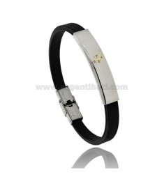RUBBER BRACELET WITH STEEL PLATE WITH CLIMBING HORSE IN BILAMINE BRASS AND GOLD
