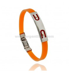 ORANGE RUBBER BRACELET WITH PERFORATED PLATE IN STEEL ARCHES WITH BILAMINE BRASS AND GOLD VITINS