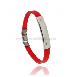 RED RUBBER BRACELET WITH STEEL PLATE WITH 2 BRASS POINTS