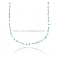 NECKLACE WITH HEAVENLY STONE WASHERS FACETED IN GOLDEN SILVER TIT 925 ‰ CM 38-43