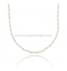 NECKLACE WITH PINK STONE WASHERS FACETED SILVER GOLDEN TIT 925 ‰ CM 38-43