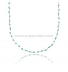 NECKLACE WITH SPHERES OF TURQUOISE PASTE IN SILVER GOLDEN TIT 925 ‰ CM 38-43