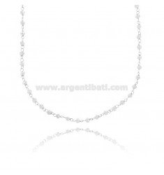NECKLACE WITH WHITE STONE WASHERS FACETED SILVER RHODIUM TIT 925 ‰ CM 38-43