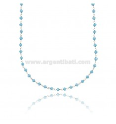 NECKLACE WITH HEAVENLY STONE WASHERS FACETED SILVER RHODIUM TIT 925 ‰ CM 38-43