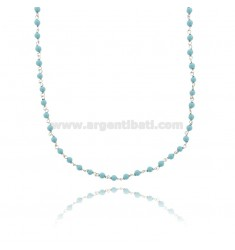 NECKLACE WITH SPHERES OF TURQUOISE PASTE IN SILVER RHODIUM-PLATED TIT 925 ‰ CM 38-43