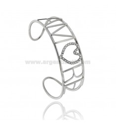 CUSTOMIZABLE RIGID BRACELET IN SILVER PLATINATED TIT 925 AND STRASS