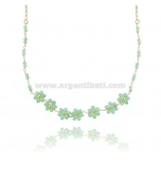 ROLO NECKLACE WITH FLOWERS AND STONES IN SILVER GOLDEN TIT 925 ‰ CM 38-43