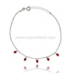 ANKLE ROLO WITH CORAL PASTE SILVER RHODIUM TIT 925 ‰ CM 22 EXTENDABLE TO 25