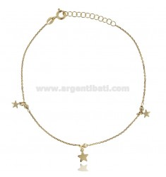 CABLE ANKLE WITH STARS IN SILVER GOLDEN TIT 925 ‰ CM 22 EXTENDABLE TO 25