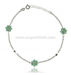ROLO ANKLET WITH FLOWERS IN STONE SILVER RHODIUM TIT 925 ‰ CM 22 EXTENDABLE TO 25