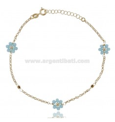 ANKLE ROLO WITH FLOWERS IN STONE SILVER GOLDEN TIT 925 ‰ CM 22 EXTENDABLE TO 25