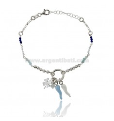 BRACELET WITH HORN AND FOUR LEAF CLOVER IN SILVER RHODIUM TIT 925 ‰ ENAMEL AND STONES 17-19 CM