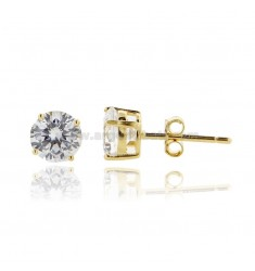 KIT 3 PAIRS OF LIGHT POINT EARRINGS WITH WHITE ZIRCON MM 6 IN GOLDEN SILVER 925 ‰