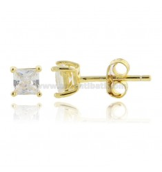 KIT 3 PAIRS EARRINGS WITH WHITE ZIRCON SQUARE MM 4X4 IN SILVER GOLDEN TIT 925 ‰