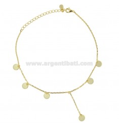 CABLE ANKLE WITH PENDANTS IN SILVER GOLDEN TIT 925 CM 23-26