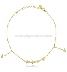 CABLE ANKLE WITH STARS IN SILVER GOLDEN TIT 925 CM 23-26