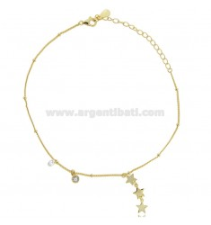CABLE ANKLE WITH STARS IN SILVER GOLDEN TIT 925 AND ZIRCONS CM 23-26