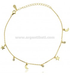 CABLE ANKLE WITH STARS AND MOONS IN SILVER GOLDEN TIT 925 AND ZIRCONS CM 23-26