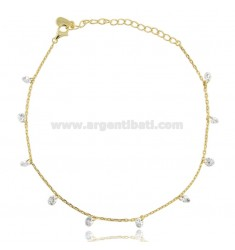 CABLE ANKLE WITH ZIRCONIA PENDANTS IN SILVER GOLDEN TIT 925 CM 23-26
