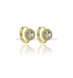 HOOP EARRINGS WITH SOLITAIRE IN SILVER GOLDEN TIT 925 ‰ AND ZIRCONS