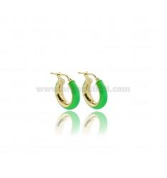 HOOP EARRINGS MM 12 BARREL MM 5 IN SILVER GOLDEN TIT 925 AND GREEN FLUO ENAMEL