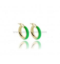 HOOP EARRINGS MM 15 BARREL MM 5 IN SILVER GOLDEN TIT 925 AND GREEN FLUO ENAMEL