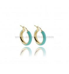 HOOP EARRINGS MM 15 BARREL MM 5 IN SILVER GOLDEN TIT 925 AND GREEN ENAMEL TIFFANY