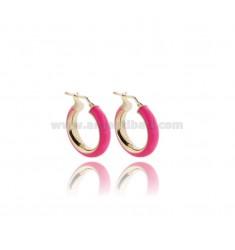 HOOP EARRINGS MM 15 BARREL MM 5 IN SILVER GOLDEN TIT 925 AND PINK FLUO ENAMEL