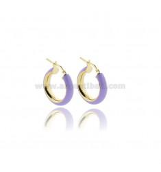 HOOP EARRINGS MM 15 BARREL MM 5 IN SILVER GOLDEN TIT 925 AND LILAC ENAMEL