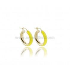 HOOP EARRINGS MM 15 BARREL MM 5 IN SILVER GOLDEN TIT 925 AND YELLOW FLUO ENAMEL