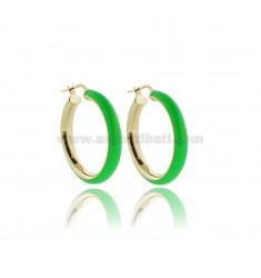 HOOP EARRINGS MM 25 BARREL MM 5 IN SILVER GOLDEN TIT 925 AND GREEN ENAMEL