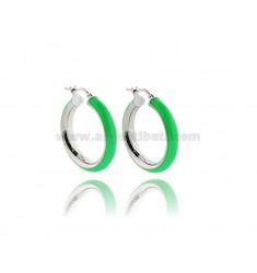 HOOP EARRINGS MM 15 BARREL MM 5 IN SILVER RHODIUM-PLATED TIT 925 AND GREEN FLUO ENAMEL
